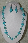 "MBAHB #19-346  ""Blue Turquoise,Large Blue Glass Pearls & Fancy AB Square Aqua Blue Glass Bead Necklace & Matching Earring Set"""