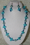 "MBAHB #19-373  ""Turquoise,Blue Gemstone & Blue Glass Pearl Necklace & Earring Set"""