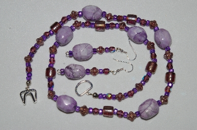 "MBAHB #19-321  ""Dyed Purple Howlite, Purple Luster Glass & Purple Fire Polished Glass Bead Necklace & Earring Set"""