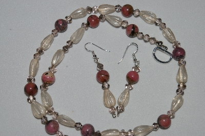 "MBAHB #19-309   ""Rhodonlite, Clear Luster Glass & Smoke Glass Bead Necklace & Earring Set"""