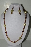 "MBAHB #19-458  ""Yellow Glass Pearls, Purple Glass & Gold Glass Bead Necklace & Earring Set"""