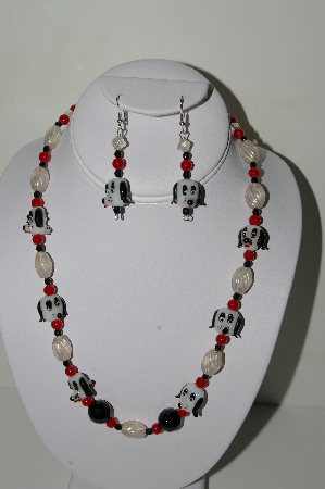 "MBAHB #19-447  ""Fancy Lamp Worked Glass Dog Beads, Black Crystal, Red Glass & Clear Luster Glass Bead Necklace & Earring Set"""