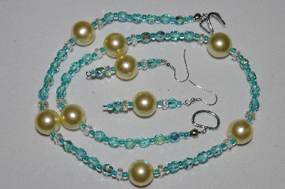 "MBAHB #19-368  ""Large Yellow Glass Pearl, Clear Crystal & Fancy Aqua Blue Fire Polished Glass Bead Necklace & Earring Set"""