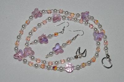 "MBAHB #19-363  ""Fancy Pink Crystal Butterfly, White Glass Pearl & Pink Fire Polished Glass Bead Necklace & Earring Set"""