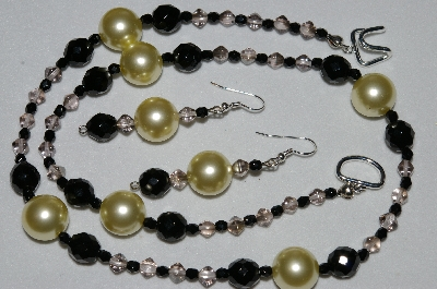 "MBAHB #19-359  ""Large Yellow Glass Pearl,  Black Crystal & Smoke Glass Bead Necklace & Earring Set"""