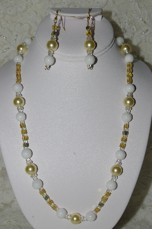 "MBAHB #19-421  ""White Jade,Yellow Glass Pearls, Clear Crystal & Yellow AB Glass Bead Necklace & Earring Set"""
