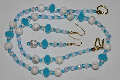 "MBAHB #19-411  ""Howlite, Fancy Faceted Blue Crystal, Clear Crystal & Frosted Blue Fire Polished Glass Bead Necklace & Earring Set"""