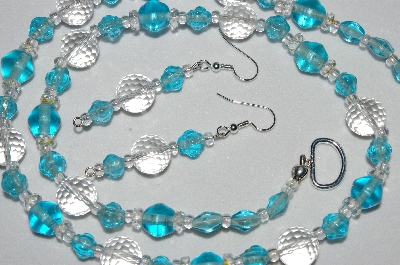 "MBAHB #19-397  ""Fancy Faceted Rock Crystal, Aqua Blue Glass, & Clear Crystal Bead Necklace & Earring Set"""