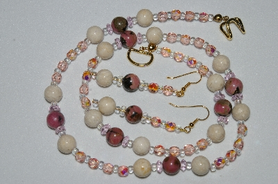 "MBAHB #19-407  ""Rhodonlite, River Stone, Pink Crystal & Pink Fire Polished Glass Bead Necklace & Earring Set"""