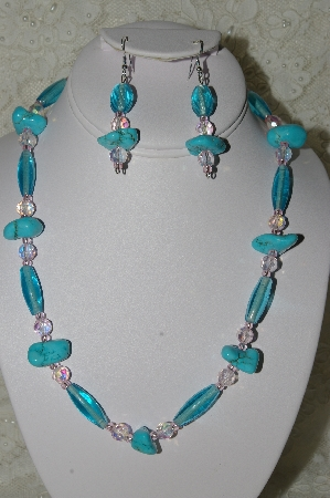 "MBAHB #19-342 ""Blue Turquoise,Pink AB Crystal & Aqua Blue Glass Bead Necklace & Earring Set"""