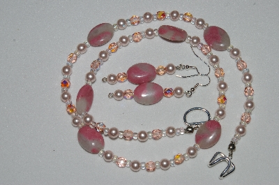 "MBAHB #19-239  ""Pink Gemstone, Pink Glass Pearl & Pink Fire Polished Glass Bead Necklace & Earring Set"""