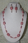 "MBAHB #19-378  ""Pink Gemstone, Pink AB Crystal & Pink Luster Glass Bead Necklace & Earring Set"""