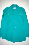 "MBAHB #25-046  ""Full Steam Bright Green Fancy Floral Beaded Shirt"""