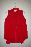 "MBAHB #25-119 ""Anchor Blue Red Fancy Hand Beaded Sleveless Top"""