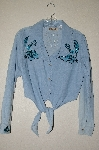"MBAHB #13-076  ""Retro 1980's Light Denim One Of A Kind Hand Beaded Front Tie Top"""