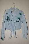 "MBAHB #13-069  ""Retro 1980's One Of A Kind Hand Painted & Beaded Front Tie Shirt"""