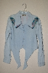 "MBAHB #13-064  ""Retro 1980's Light Denim Hand Painted & Hand Beaded One Of A Kind Tie Front Shirt"""
