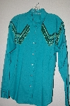"MBAHB #13-047  ""Sheplers 1980's Green One Of A Kind Fancy Glass Beaded Fringe Top"""
