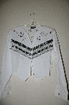 "MBAHB #13-003  ""Roughrider 1980's Fancy White One Of A Kind Hand Beaded Western Shirt"""
