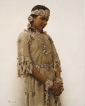 "+MBA #FL8-085   ""Little Fawn-Cree Indian Girl"" By Artist James Bama"