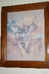 "+MBA #FL9-022  ""1978 Framed Deer Head Lithograph"" By Artist K.Maroon"