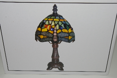 "MBAHB #19-481  ""12"" Blue Dragonyfly Tiffany Style Accent Lamp"""