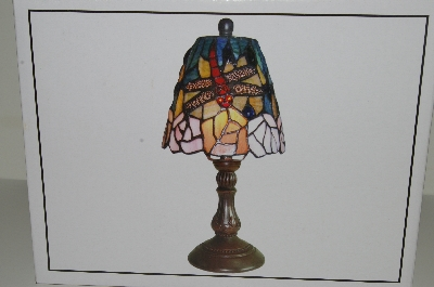 "MBAHB #19-490  ""Tiffany Style Floral Dragonfly Stained Glass Accet Lamp"""