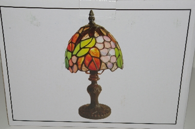 "MBAHB #19-477  ""Tiffany Style Grapes Stained Glass Accent Lamp"""