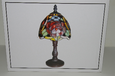 "MBahb #10-444  ""Tiffany Style Rose Stained Glass Accent Lamp"""