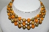 "MBA #88-063  ""Unsigned Vintage Wood & Acrylic Three Strand Necklace"""