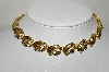 "MBA #88-162  ""Vintage Gold Plated Fancy Leaf Chocker"""