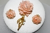 "MBA #88-514  ""Vintage Pink Celluloid Rose Pin & Matching Earring Set"""