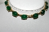 "MBA #88-007  ""Vintage Gold Plated Fancy Green Cabochon Glass Chocker"""