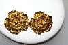 "**MBA #88-347  ""Vintage Avon Gold Tone Flower Clip On Earrings"""