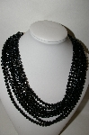 "MBA #88-238  ""Vintage 8 Strand Black Acrylic Bead Necklace"""