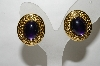 "MBA #88-076  ""Trifari Purple Cabachon Clip On Earrings"""