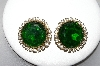 "MBA #88-059  ""Vintage Green & Clear Glass Rhinestone Clip On Earrings"""