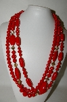 "**MBA #88-370  ""Vintage Red & Gold Acrylic Bead 3 Strand Necklace"""