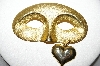 "+MBA #88-608  ""Older Satin Finish Gold Plated Mask Pin With Heart Charm"""