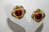 "MBA #88-132  ""Goldtone Red Enamel & Crystal Rhinestone Clip On Earrings"""