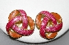 "+MBA #88-404 ""Gold Tone Pink & Peach Enameled Clip On Earrings"""