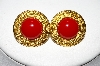 "MBA #88-037  ""Napier Gold Tone Red Acrylic Stone Clip On Earrings"""