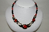 "MBA #88-147  ""Gold Tone Black & Red Enamel & Bead Necklace"""