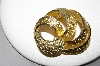 "MBA #88-350  ""BSK Yellow Gold Finish Fancy Brooch With Clear Crystal Rhinestones"""