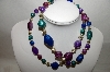 "MBA #88-613   ""Blue, Purple & Green Acrylic Bead Necklace"""