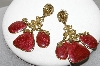 "MBA #88-195  ""Berrbi Gold Tone Fancy Enameled Pierced Earrings"""
