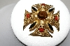 "MBA #88-506  ""Florenza Fancy Large Gold Tone Maltese Cross Brooch/Pendant Combo"""