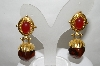 "+MBA #88-126  ""Gold Tone Red & Brown Acrylic Stone Clip On Earrings"""