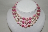"MBA #88-085  ""Japan Fancy Pink & White Acrylic Bead 3 Strand Necklace"""