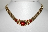 "**MBA #88-357  ""Trifari Gold Tone Red Cabachon, Red Rhinestone & Red Enamel Necklace"""